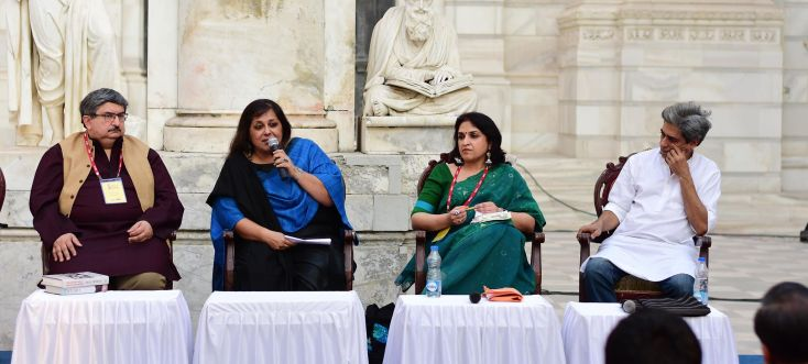 "The session ""Casualties as Collateral Damage"" as part of AKLF 2016  (L-R) Salil Tripathi, Kavita Punjabi, Nayanika Mookherjee, Ruchir Joshi. P.C Sourodip Ghosh"